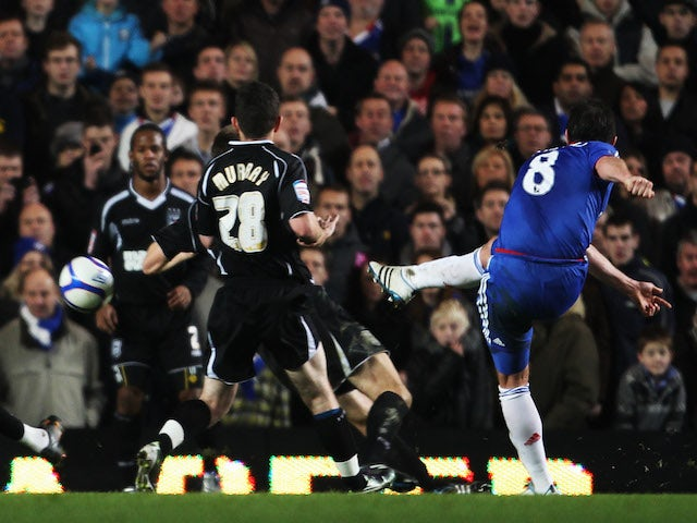 Frank Lampard of Chelsea scores their sixth goal during the FA Cup sponsored by E.ON 3rd round match between Chelsea and Ipswich Town at Stamford Bridge on January 9, 2011