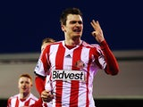 Adam Johnson of Sunderland celebrates scoring a hat trick during the Barclays Premier League match between Fulham and Sunderland at Craven Cottage on January 11, 2014