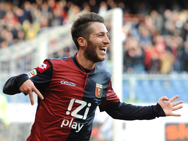 Andrea Bertolacci of Genoa CFC celebrates his goal during the Serie A match between Genoa CFC and US Sassuolo Calcio at Stadio Luigi Ferraris on January 6, 2014