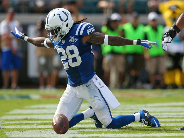 Greg Toler #28 of the Indianapolis Colts reacts to stopping a touchdown during a game against the Jacksonville Jaguars at EverBank Field on September 29, 2013