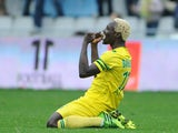 Nantes' Ismael Bangoura celebrates after scoring the opening goal against Lorient during their Ligue 1 match on January 12, 2014