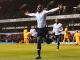 Jermain Defoe of Tottenham Hotspur celebrates his goal during the Barclays Premier League match between Tottenham Hotspur and Crystal Palace on January 11, 2014