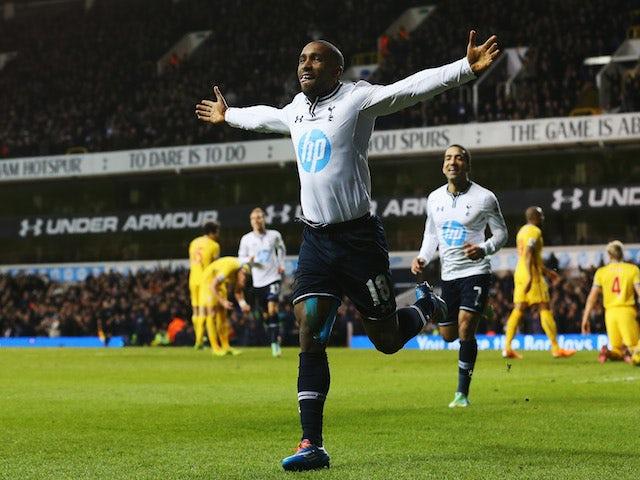 Jermain Defoe of Tottenham Hotspur celebrates his goal during the Barclays Premier League match between Tottenham Hotspur and Crystal Palace on January 11, 2014
