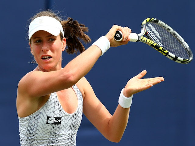 Johanna Konta of Great Britain in action against Su-Wei Hsieh of Taipei on day four of the AEGON International tennis tournament at Devonshire Park on June 18, 2013