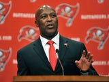 Lovie Smith speaks as he is introduced as the new coach of Tampa Bay Buccaneers at a press conference January 6, 2014