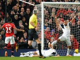 Luis Antonio Valencia of Manchester United scores the opening goal during the Barclays Premier League match between Manchester United and Swansea City on January 11, 2014