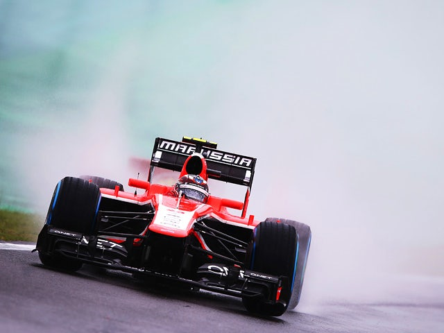 Max Chilton of Marussia drives during a practise session for the Brazilian Formula One Grand Prix on November 22, 2013