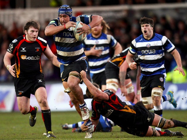 Leroy Houston of Bath makes a break during the Amlin Challenge Cup match between Newport Gwent Dragons and Bath at Rodney Parade on January 11, 2014