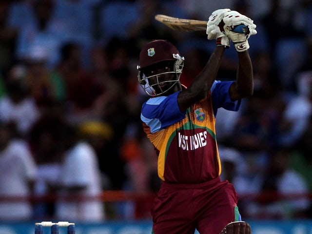 Nikita Miller of the West Indies hits out during the ICC World Twenty20 Super Eight match between the West Indies and Australia played at the Beausejour Cricket Ground on May 11, 2010