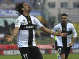 Amauri Carvalho De Oliveira of Parma FC celebrates his goal during the Serie A match between Parma FC and Torino FC at Stadio Ennio Tardini on January 6, 2014