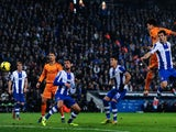 Pepe of Real Madrid CF scores the opening goal during the La Liga match between RCD Espanyol and Real Madrid CF at Cornella-El Prat Stadium on January 12, 2014