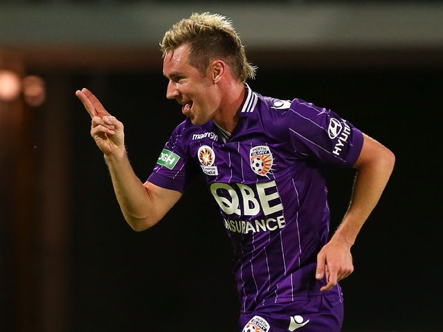 Shane Smeltz of the Glory celebrates his second goal during the round 14 A-League match between Perth Glory and the Melbourne Heart at nib Stadium on January 10, 2014