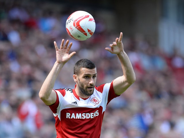 Stuart Parnaby of Middlesbrough during their Sky Bet Championship match against Leicester City at the Riverside Stadium on August 3, 2013