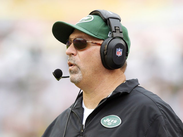 Offensive coordinator Tony Sparano of the New York Jets looks on during fourth quarter action against the Miami Dolphins on September 23, 2012