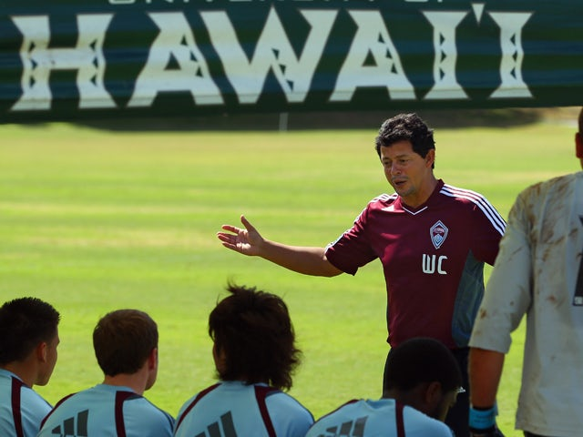 Assistant coach Wilmer Cabrera of the Colorado Rapids directs the reserve team during a scrimmage against the University of Hawaii men's soccer team during a preseason training session on the campus of the University of Hawaii on February 21, 2012