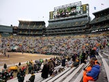 Fans gather in the stands prior to the NFC Wild Card Playoff game between the San Francisco 49ers and the Green Bay Packers at Lambeau Field on January 5, 2014