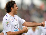 Fiorentina's Alessandro Matri celebrates after scoring his team's second goal against Calcio Catania during their Serie A match on January 19, 2014