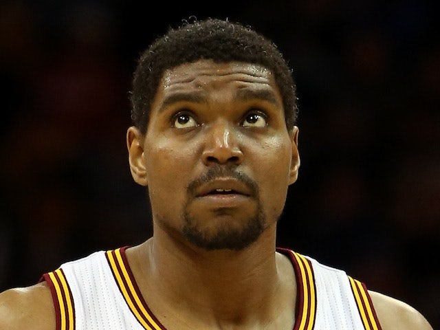 Andrew Bynum of the Cleveland Cavaliers looks on during the game against the Atlanta Hawks at Quicken Loans Arena on December 26, 2013