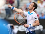 Andy Murray celebrates victory over Go Soeda in their first round match of the Australian Open on January 14, 2014