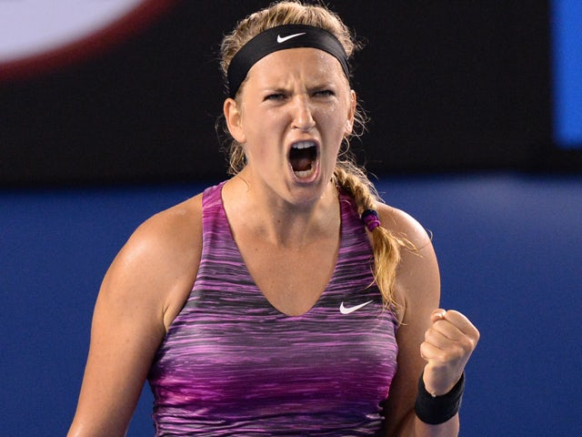 Belarus's Victoria Azarenka gestures during her women's singles match against Czech Republic's Barbora Zahlavova Strycova on day four of the 2014 Australian Open tennis tournament in Melbourne on January 16, 2014