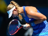 Angelique Kerber of Germany celebrates a point in her third round match against Alison Riske of the United States during day five of the 2014 Australian Open at Melbourne Park on January 17, 2014