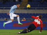 Lazio's Brayan Perea scores the opening goal against Parma during their Coppa Italia match on January 14, 2014