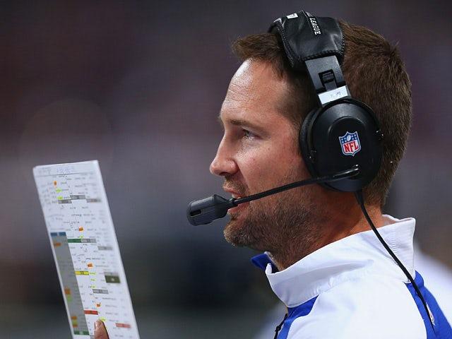 St. Louis Rams offensive coordinator Brian Schottenheimer calls a play against Tennessee Titans on November 3, 2013