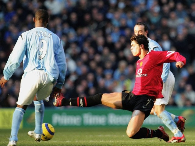 Cristiano Ronaldo, then of Manchester United, fouls Andy Cole on January 14, 2006.