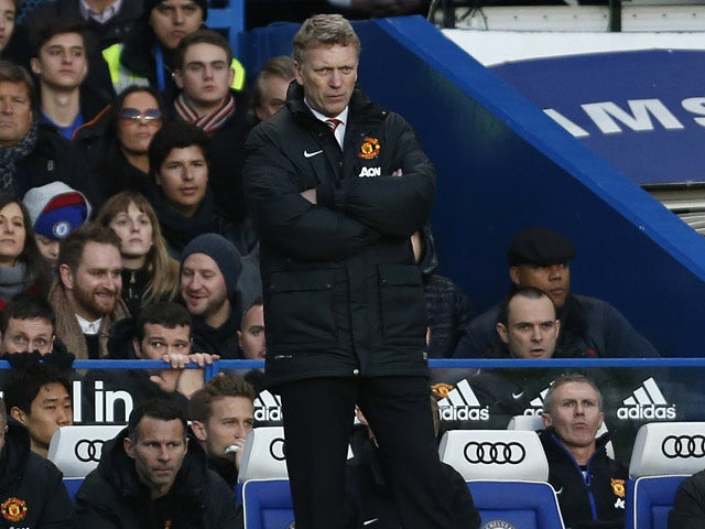 Man United manager David Moyes on the touchline during his team's Premier League match against Chelsea on January 19, 2014