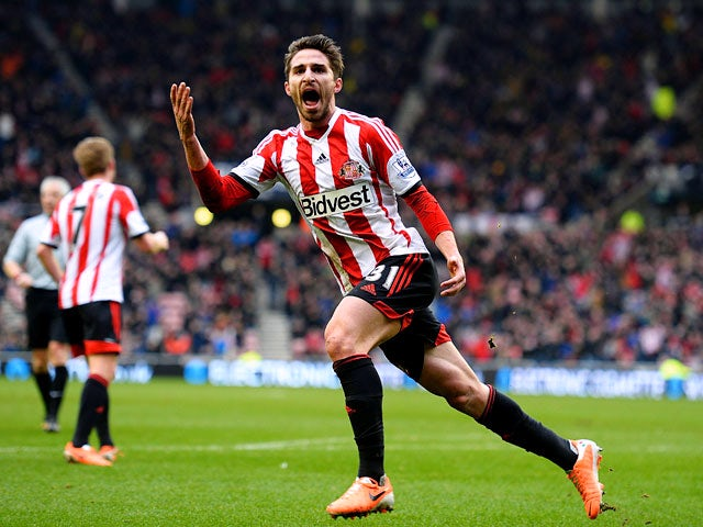 Sunderland's Fabio Borini celebrates after scoring his team's first goal against Southampton during their Premier League match on January 18, 2014
