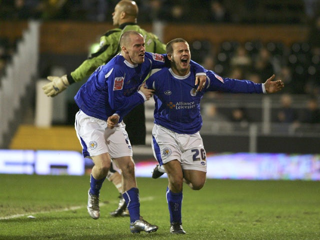 James Wesolowski of Leicester City celebrates as he scores their third goal with Iain Hume during the FA Cup sponsored by E.ON 3rd Round replay match between Fulham and Leicester City at Craven Cottage on January 17, 2007