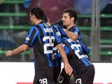 Atalanta's Giacomo Bonaventura celebrates with teammates after scoring the opening goal against Cagliari during their Serie A match on January 19, 2014