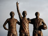 A general shot of the Holy Trinity statue outside of Old Trafford.
