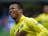 Villarreal's Ikechukwu Uche celebrates after scoring the opening goal against Almeria during their La Liga match on January 19, 2014