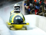 The Jamaica two-man bobsleigh team in action during the Salt Lake City Winter Olympic Games on February 16, 2002