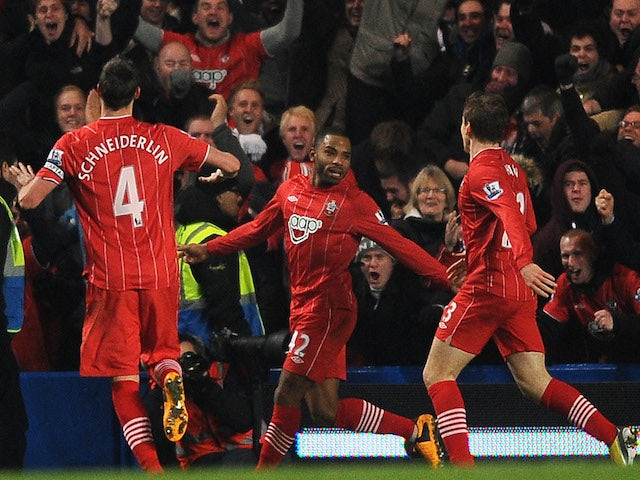 Jason Puncheon of Southampton celebrates scoring their second goal during the Barclays Premier League match between Chelsea and Southampton at Stamford Bridge on January 16, 2013
