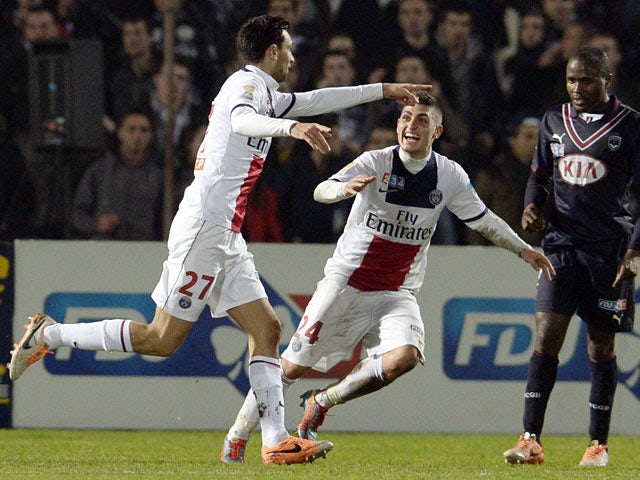 PSG's Javier Pastore celebrates after scoring the opening goal against Bordeaux during their Coupe de la Ligue match on January 14, 2014