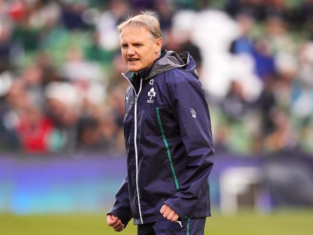 Joe Schmidt, the Ireland head coach looks on during the International match between Ireland and New Zealand All Blacks at the Aviva Stadium on November 24, 2013