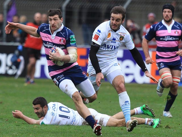 Gloucester's Jonny May runs ahead to score a try against Perpignan during their Heineken Cup match on January 19, 2014