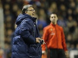 Barcelona's Argentinian coach Gerardo 'Tata' Martino reacts during the Spanish league football match Levante UD vs FC Barcelona at the Ciutat de Valencia Stadium in Valencia on January 19, 2014