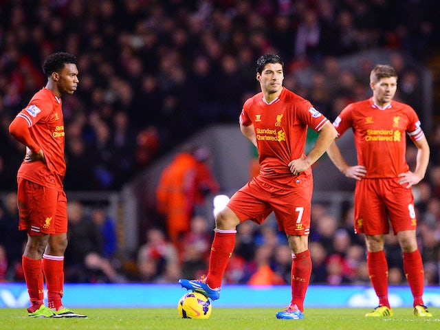 Luis Suarez of Liverpool looks dejected with Daniel Sturridge and Steven Gerrard after the opening goal scored by Andreas Weimann of Aston Villa on January 18, 2014