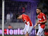 Monaco's Lucas Ocampos celebrates after scoring his team's second goal against Toulouse during their Ligue 1 match on January 19, 2014