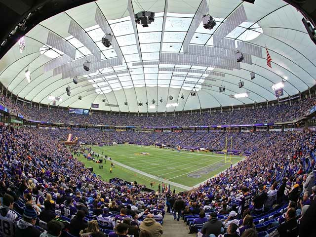 General view of the Hubert H. Humphrey Metrodome, home of Minnesota Vikings during the game against Detroit Lions on December 29, 2013
