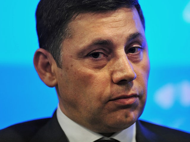 Italian banker and Executive Chairman of Southampton Football Club, Nicola Cortese, addresses delegates at the Leaders Sport Summit in west London on October 10, 2013