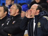 Chelsea's Spanish interim manager Rafael Benitez (R) gestures during the English Premier League football match between Chelsea and Southampton at Stamford Bridge in London, on January 16, 2013