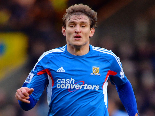 Nikica Jelavic of Hull City in action during the Barclays Premier League match between Norwich City and Hull City at Carrow Road on January 18, 2014
