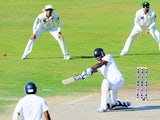 Sri Lankan batsman Angelo Mathews plays a shot during the second day of the third and final cricket Test match between Pakistan and Sri Lanka at the Sharjah International Cricket Stadium, in the Gulf emirate of Sharjah, on January 17, 2014