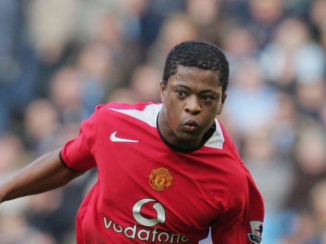Patrice Evra in action during his Manchester United debut on January 14, 2006.