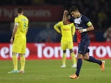 Paris Saint-Germain's Brazilian defender and captain Thiago Silva celebrates after scoring a goal during the French L1 football match Paris Saint-Germain (PSG) vs Nantes (FCNA), on January 19, 2014