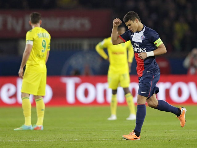 Paris Saint-Germain's Brazilian defender and captain Thiago Silva celebrates after scoring a goal during the French L1 football match Paris Saint-Germain (PSG) vs Nantes (FCNA), on January 19, 2014